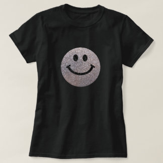 Silver faux glitter smiley face tee shirt