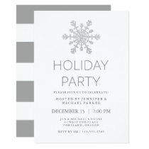 Silver Faux Glitter Snowflake Holiday Party Card
