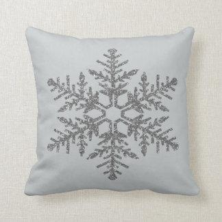 Silver Faux Glitter Snowflake Throw Pillow