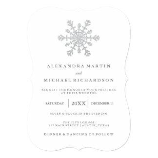 Silver Faux Glitter Snowflake Wedding Card