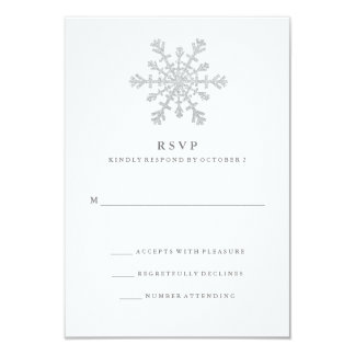 Silver Faux Glitter Snowflake Wedding RSVP Card