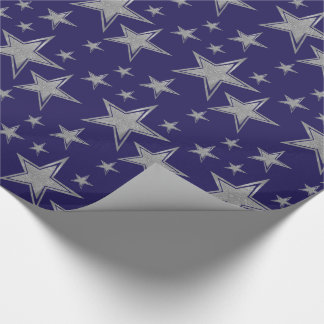 Silver Faux Glitter Stars on Navy Blue Wrapping Paper