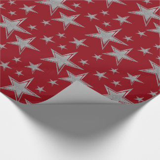 Silver Faux Glitter Stars on Red Wrapping Paper