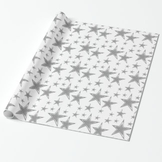 Silver Faux Glitter Stars Wrapping Paper