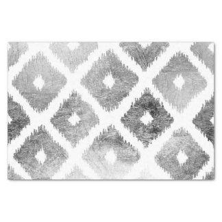 "Silver faux leaf modern abstract geometric pattern 10"" x 15"" tissue paper"