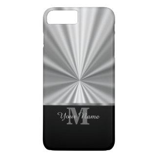 Silver faux metallic black monogram iPhone 7 plus case
