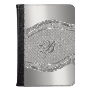 Silver Faux Metallic Look With Diamonds Pattern Kindle Case at Zazzle