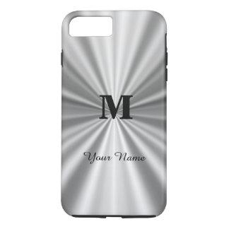 Silver faux metallic monogrammed iPhone 7 plus case