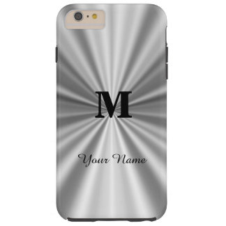 Silver faux metallic monogrammed tough iPhone 6 plus case