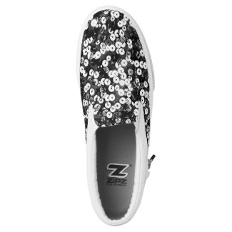 Silver Faux Sequin Slip On Sneakers