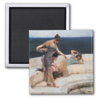 Silver Favorites by Lawrence Alma-Tadema 2 Inch Square Magnet