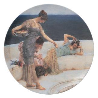 Silver Favorites by Lawrence Alma-Tadema Melamine Plate
