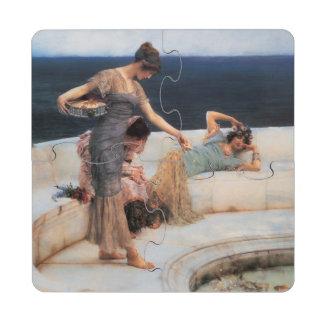Silver Favorites by Lawrence Alma-Tadema Puzzle Coaster
