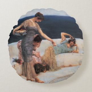Silver Favorites by Lawrence Alma-Tadema Round Pillow