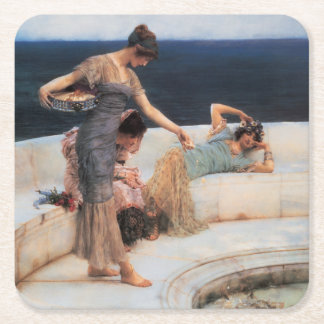 Silver Favorites by Lawrence Alma-Tadema Square Paper Coaster