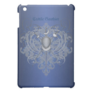 Silver Fencing Swords Blue Scroll  iPad Mini Case