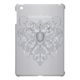 Silver Fencing Swords Grey Scroll  iPad Mini Cases