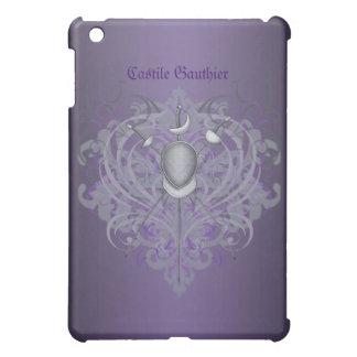 Silver Fencing Swords Purple Scroll  Case For The iPad Mini