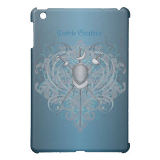 Silver Fencing Swords Teal Scroll  Cover For The iPad Mini