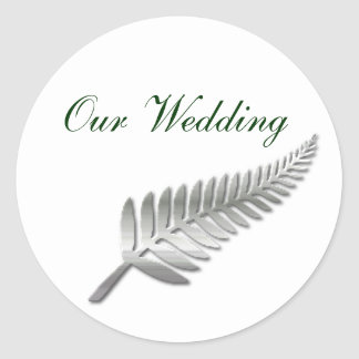 Silver Fern Wedding Envelope Seal Classic Round Sticker