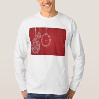 Silver filigree eggs on red T-Shirt