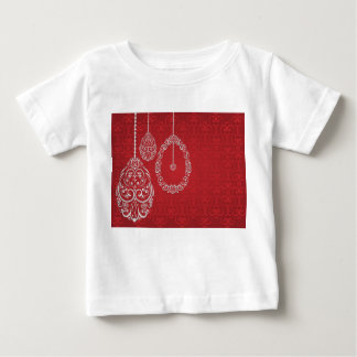 Silver filigree eggs on red t-shirts