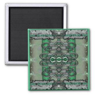 silver filigree green tone fridge magnet