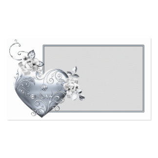 Silver Filigree Heart & White Roses Double-Sided Standard Business Cards (Pack Of 100)