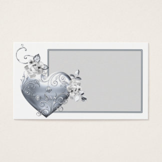Silver Filigree Heart & White Roses Business Card