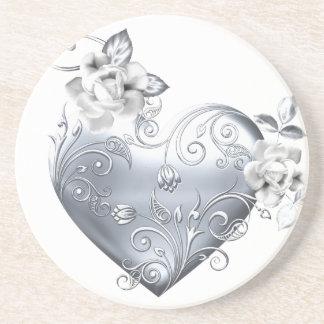 Silver Filigree Heart & White Roses Coasters