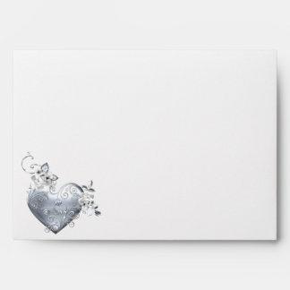 Silver Filigree Heart & White Roses Envelope