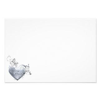 Silver Filigree Heart & White Roses Personalized Invite