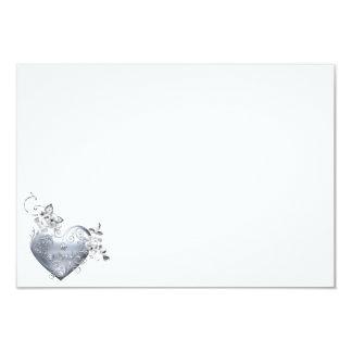 Silver Filigree Heart & White Roses 3.5x5 Paper Invitation Card