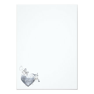 Silver Filigree Heart & White Roses 5x7 Paper Invitation Card