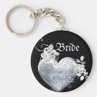 Silver Filigree Heart & White Roses Basic Round Button Keychain