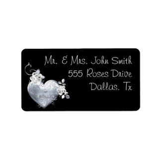 Silver Filigree Heart & White Roses Label