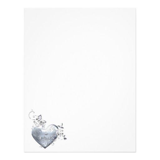 Silver Filigree Heart & White Roses Letterhead Template