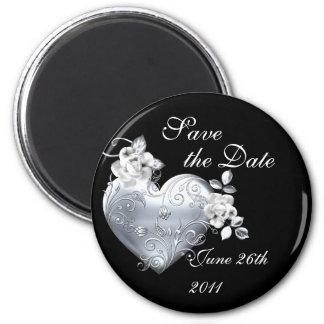 Silver Filigree Heart & White Roses Magnet