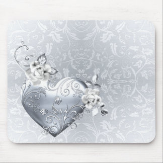 Silver Filigree Heart & White Roses Mouse Pad