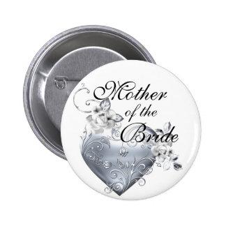 Silver Filigree Heart & White Roses Pinback Button