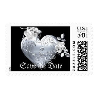 Silver Filigree Heart & White Roses Postage