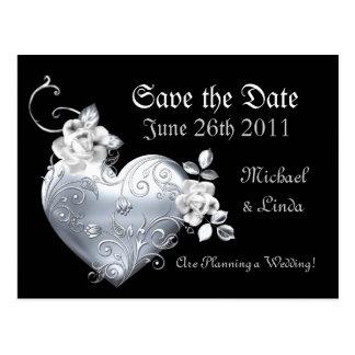 Silver Filigree Heart & White Roses Postcard