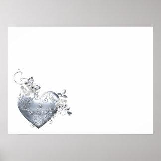 Silver Filigree Heart & White Roses Poster