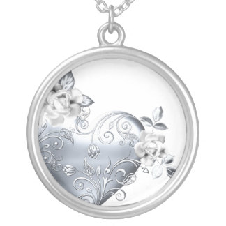 Silver Filigree Heart & White Roses Round Pendant Necklace