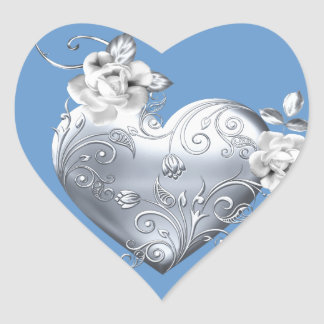 Silver Filigree Heart White Roses Stickers