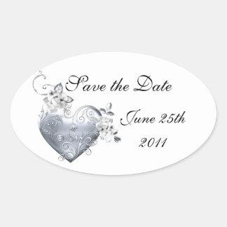 Silver Filigree Heart White Roses Sticker
