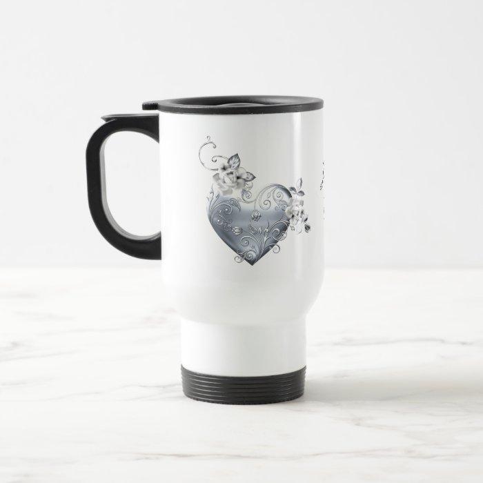Silver Filigree Heart & White Roses Travel Mug