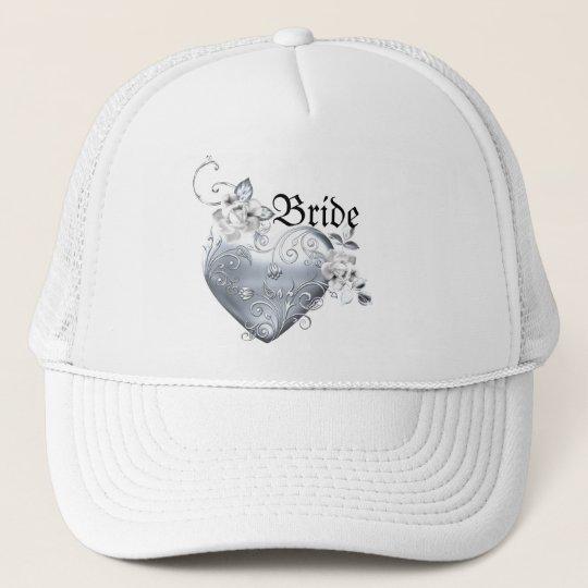 Silver Filigree Heart & White Roses Trucker Hat