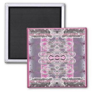 silver filigree pink tone fridge magnets