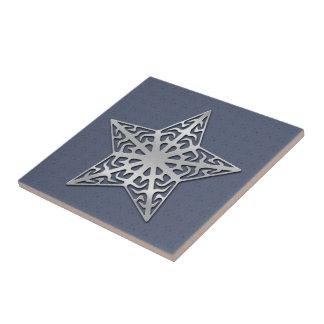 Silver Filigree Star Ceramic Tile